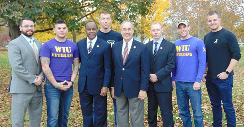 Veterans Day with Mayor Inman President Thomas and WIU Vets Club