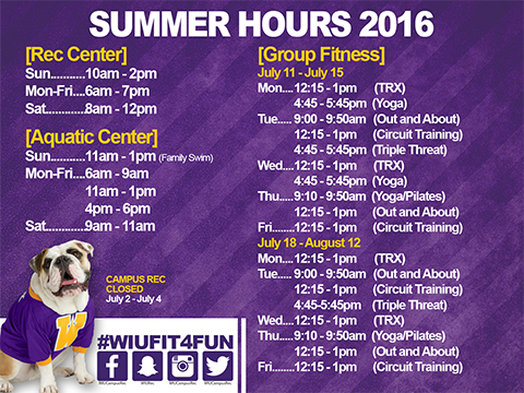 Group Fitness Schedule Summer 2016 (July-Aug 19)