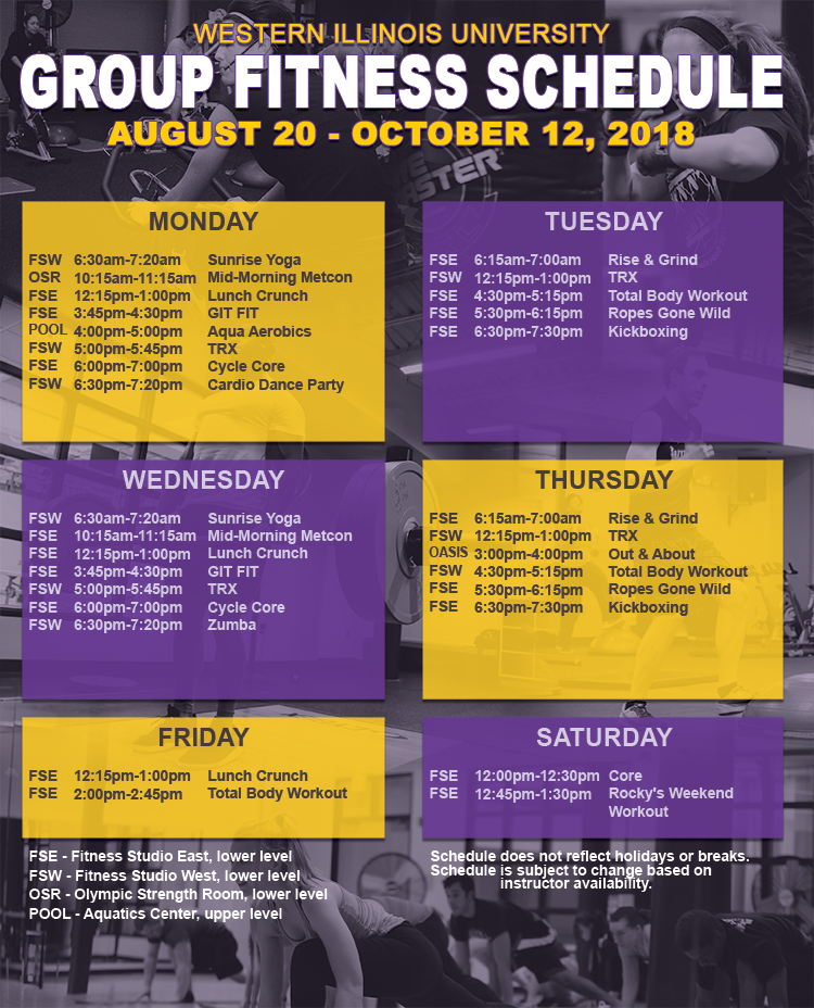Group Fitness Schedule Aug. 20-Oct. 12, 2018