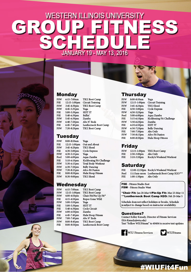 Group Fitness Schedule Spring 2016