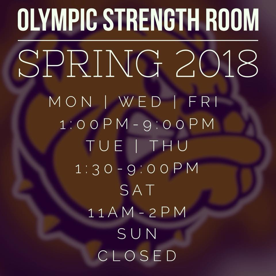 Olympic Strength Room Hours Spring 2018