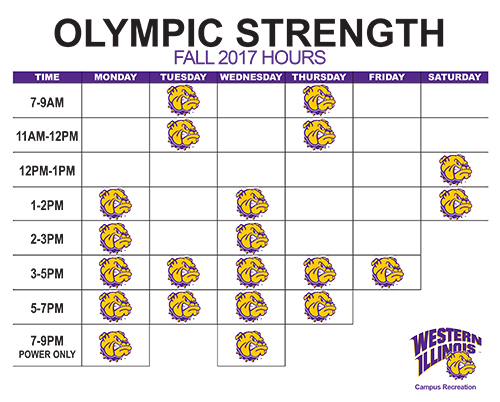 Olympic Strength Room Hours Fall 2017