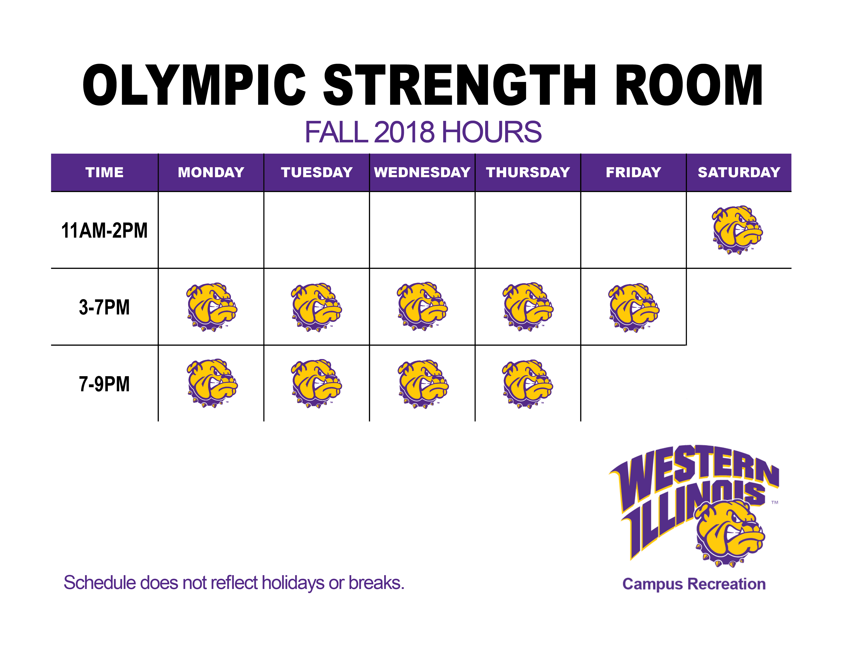 Olympic Strength Room Fall 2018 Hours