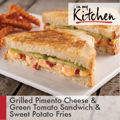 Grilled Pimento Cheese and Green Tomato Sandwich with Sweet Potato Fries