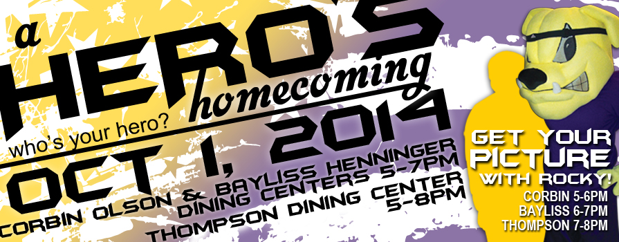 Homecoming, October 1, 2014 Get a Picture with Rocky, Corbin 5-6 PM, Bayliss 6-7 Pm, Thompson 7-8 PM