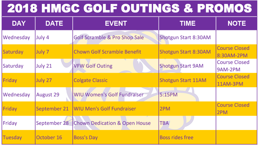 2018 HMGC Golf Outings & Promotions