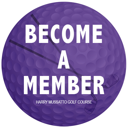 "Illustration of a purple golf ball with the text ""BECOME A MEMBER HARRY MUSSATTO GOLF COURSE"""