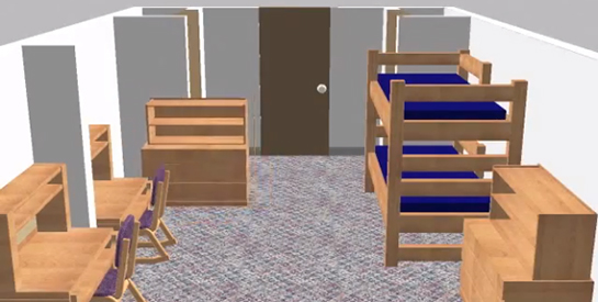 3-D rendering of a Bay/Henn room