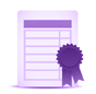 Illustration of a piece of paper with a purple certificate on it