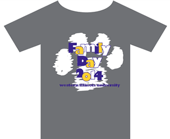 Front of the family day t-shirt: Family Day 2014 Western Illinois University