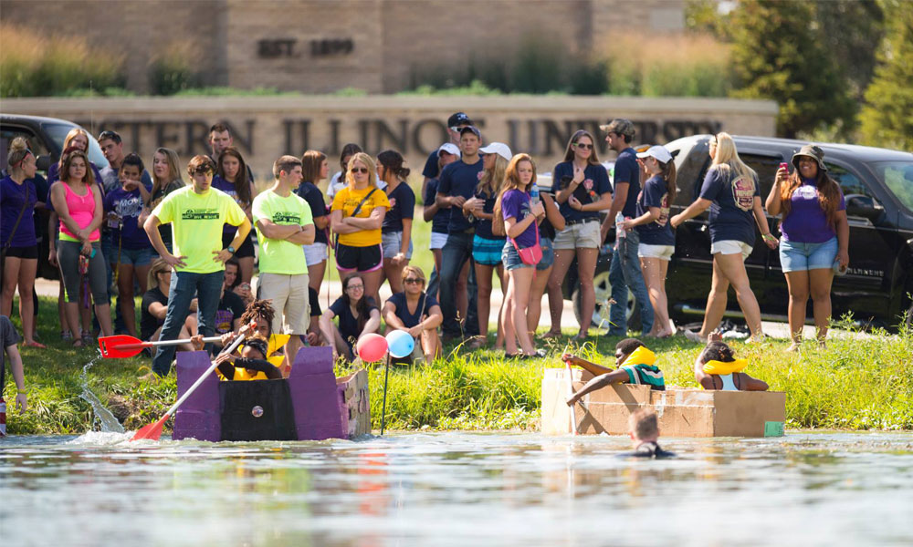 BR: Students cheering on their teams, during 2017 Rocky's Boat Regatta