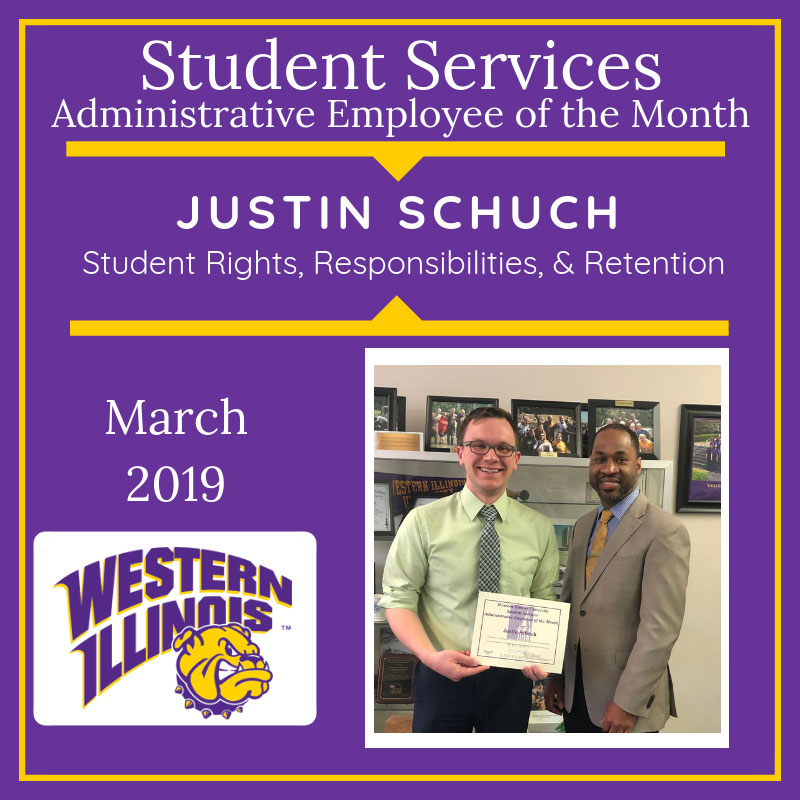 Administrative Employee of the Month: Justin Schuch, Student Rights, Responsibilities, and Retention