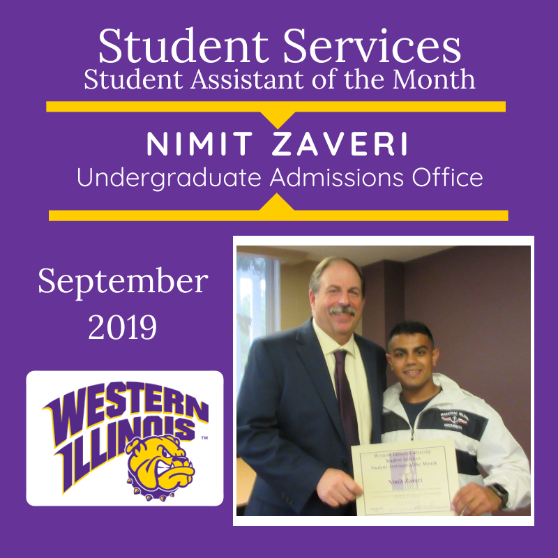 Student Assistant of the Month: Nimit Zaveri, Undergraduate Admissions Office