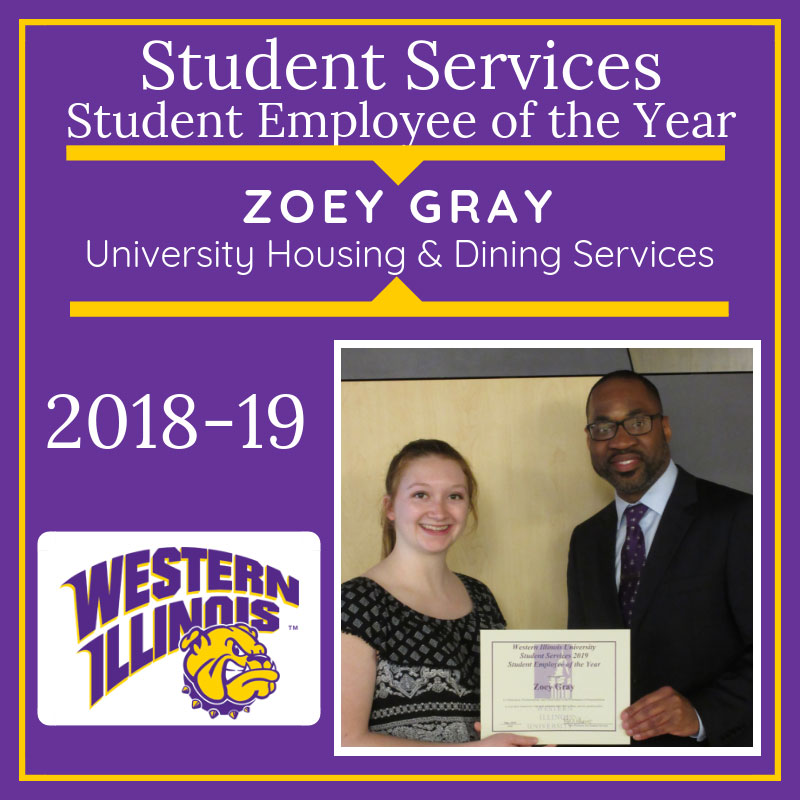 Student Employee of the Year: Zoey Gray, University Housing and Dining Services