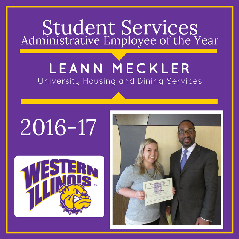 Administrative Employee of the Year:  Leann Meckler,  University Housing and Dining Services