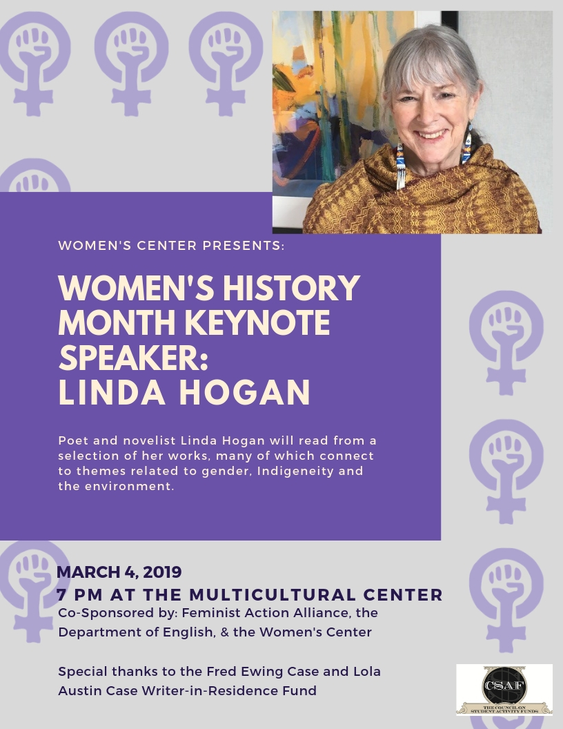Linda Hogan Keynote Speech, 3/4 at 7pm in the Multicultural Center