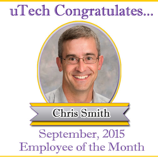 September 2015 Employee of the Month, Chris Smith.