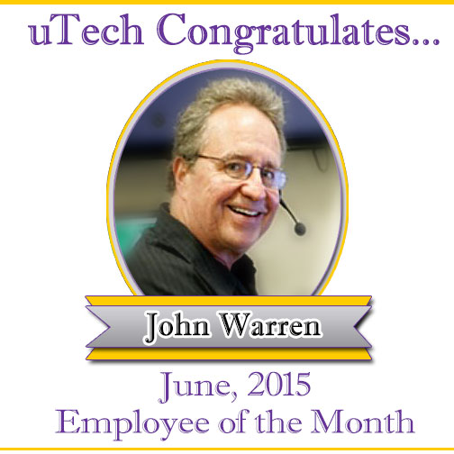 June Employee of the Month, John Warren.