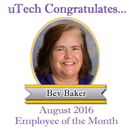 Aug 2016 Employee of the Month, Bev Baker.