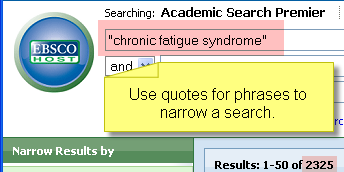 A screen shot of the Academic Search Premier search interface.