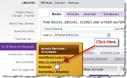 Where to access course reserves from the WIU library website