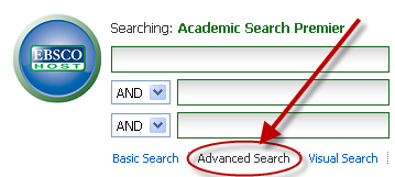 Screen shot of the Advanced search interface.