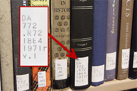 Picture of books and a zoom of the call number