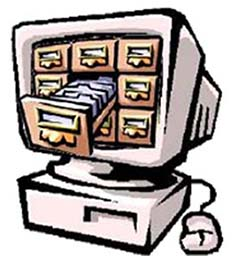 Graphic of computer with card catalog on screen.