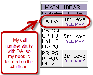Screen shot of library book location map