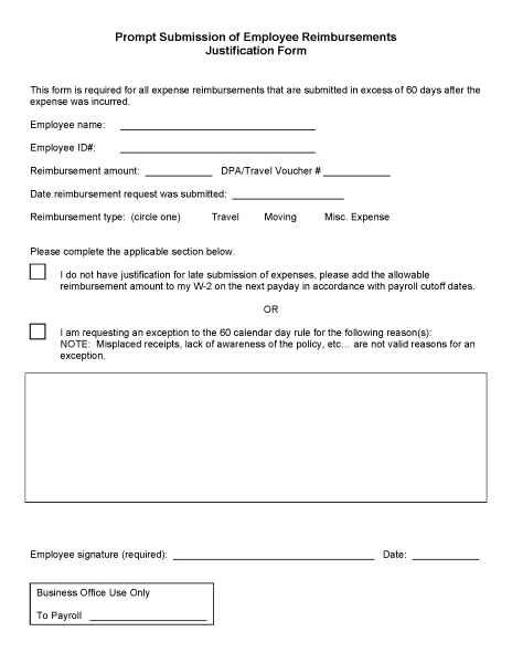 Prompt Submission of Employee Reimbursements Justification Form