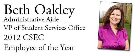 Beth Oakley, 2012 Employee of the Year