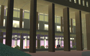 University Union, Northeast side columns at night (Proposed Rendering)