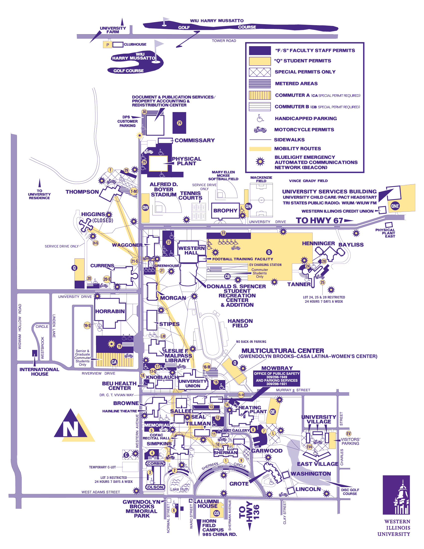 Parking Map   Administrative Services   Western Illinois University