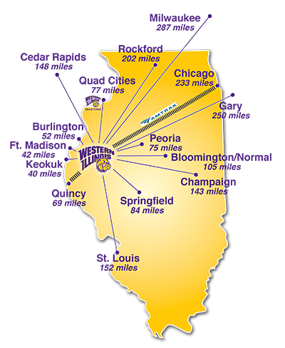 map of distances from Macomb to regional metro areas