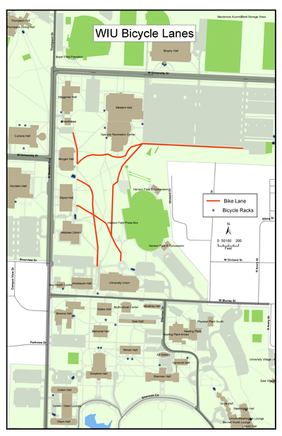 WIU Bicycle Lanes Map