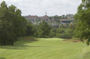 view of sherman hall from golf course