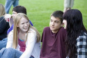 Students talking outside