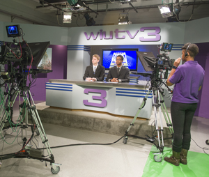 Broadcasting students broadcasting WIU TV